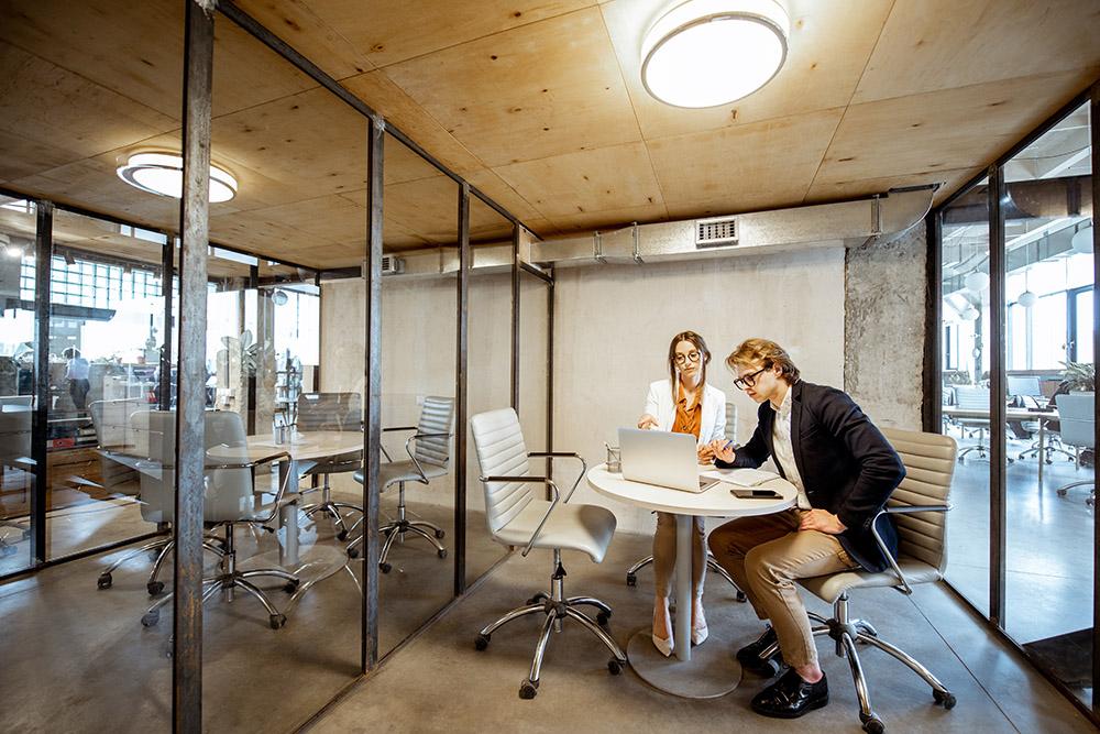 personnes travaillant dans un bureau isolé phonétiquement-OZ ALU